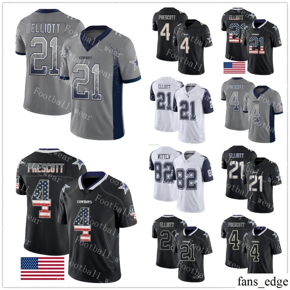 new concept cdf77 c365b Dallas Jersey #21 Ezekiel Elliott 4 Dak Prescott Cowboys 82 Jason Witten  2018 USA Flag Fashion Color Rush Limited Football Jerseys