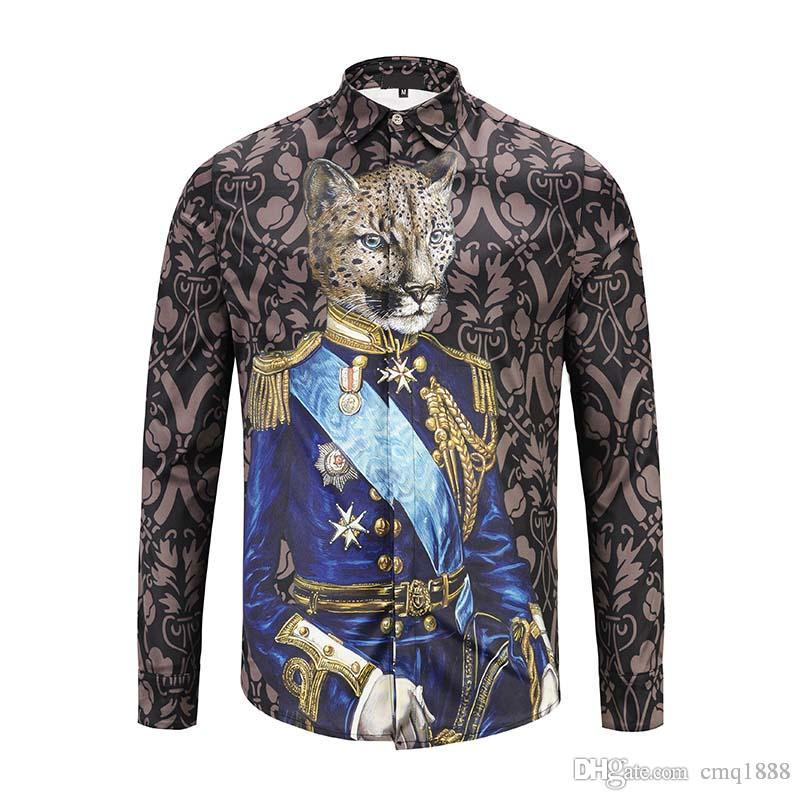 Wholesale Medusa Shirt Men Spring Autumn Harajuku Medusa Gold Chain Print  Shirs Retro Floral Long Sleeve Patchwork Men's Top