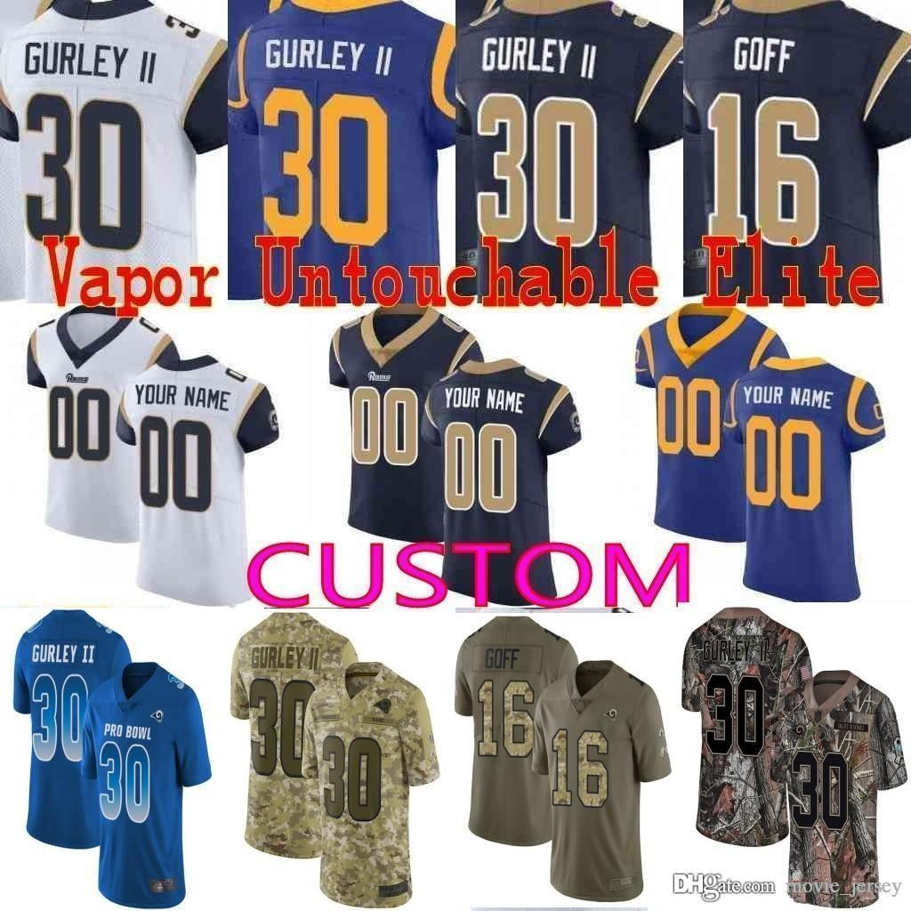 low priced 5d100 b305f custom rams Men Youth women Todd Gurley II Aaron Donald Jared Goff 22  Marcus Peters Eric Kupp Camo Los Angeles Elite Limited Jersey