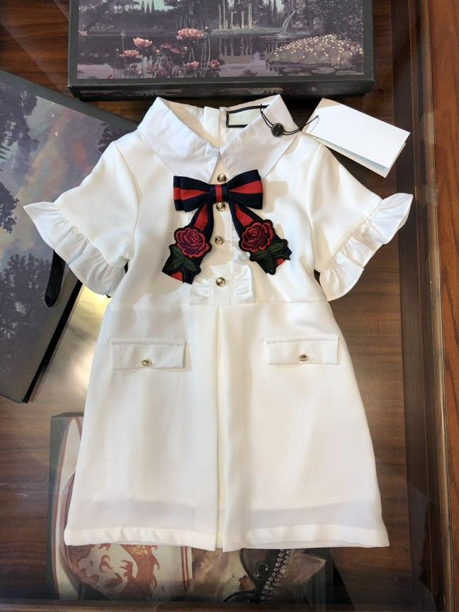 Girls Bow Tie Ruffle Sleeves Dresses Summer 2019 Kids Boutique Clothing 2-7Y Little Girls Flare Sleeves Shirt Dresses Special Products