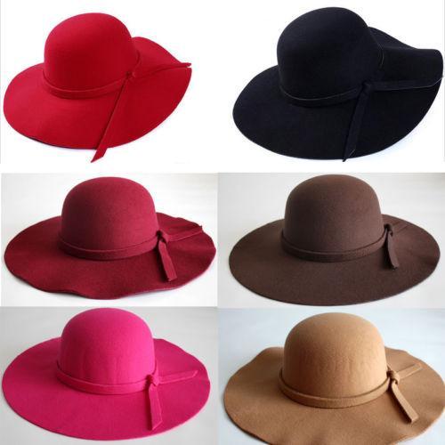 Vintage Lady Womens Wide Brim Wool Felt Hat Floppy Felt Bowler ... 5e2a4edb5576