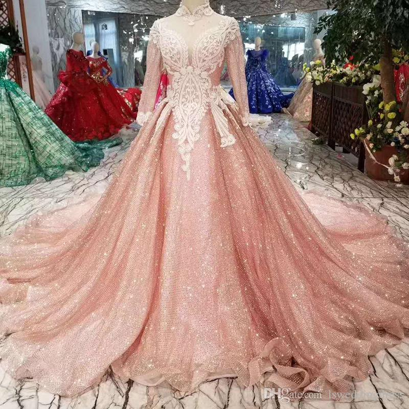 4dc29ce91406a Shiny Luxury Evening Dress With Long Train High Neck Long Sleeves Lace Up  Back Muslim Prom Dress Long A-Line Dress 2019 Newest Dubai