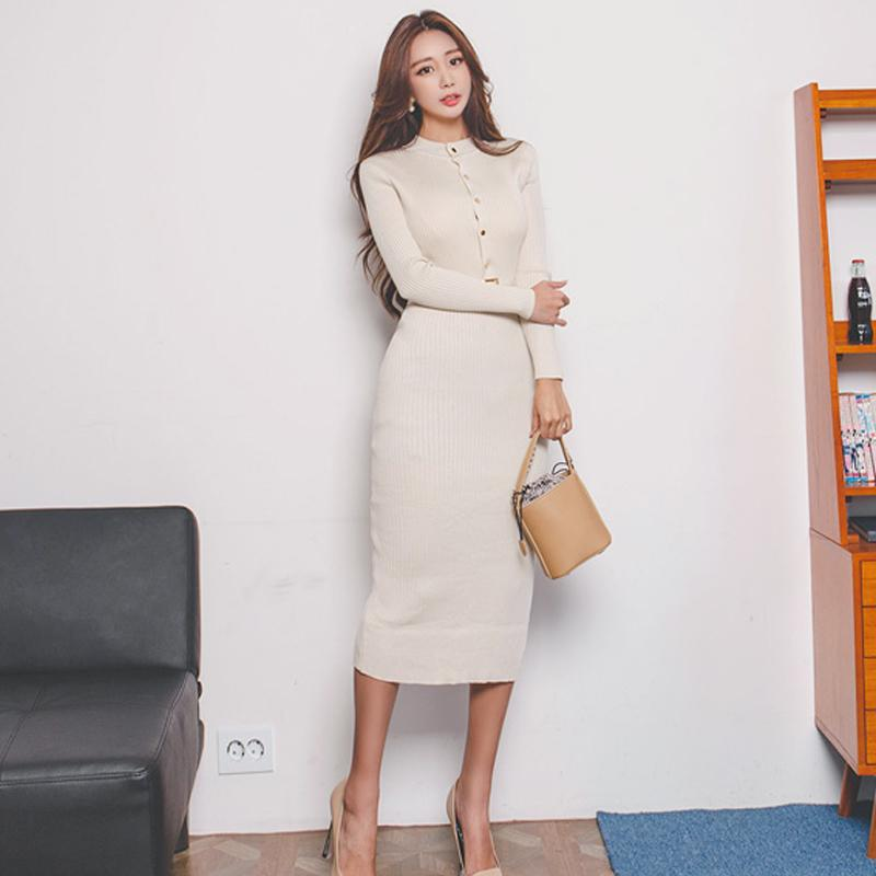 ec257ec665 Elegant Single Breasted Women Sweater Dress O Neck Full Sleeve Sashes  Stretch Vestidos Female Knee Length Knitted Dress 2018 Short And Long  Dresses Evening ...