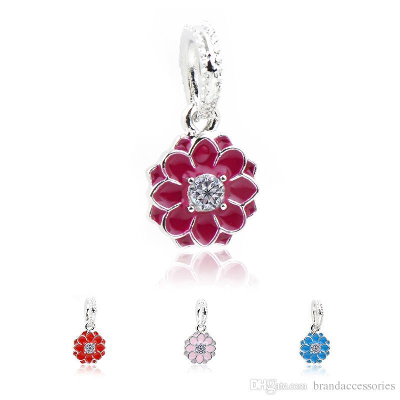 eeb0bdf60 2019 Pretty Silver Enamel Pendants Fits Pandora Charms Bracelets Floral Lotus  Flower Diamond Alloy Beads DIY Necklace Jewelry Accessories DZ68 From ...