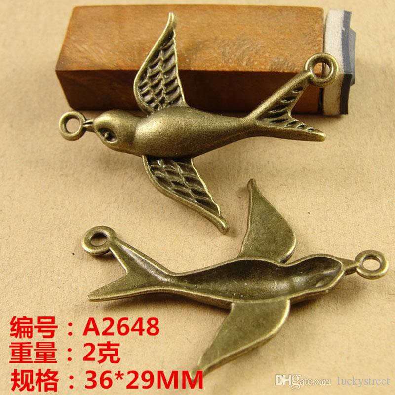 36*29MM Vintage swallow Bird charms Pendant handmade DIY jewelry accessories Beaded ZAKKA material, antique connector charms lot