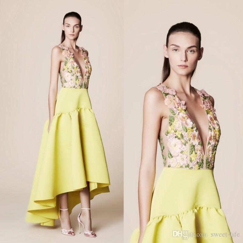Tony Ward 2019 Yellow High Low Prom Dresses Deep V Neck Flower Embroidery  Sexy Plunging Neckline Evening Gowns A Line Formal Party Dress Light Pink  Prom ... 6eb6fe43a