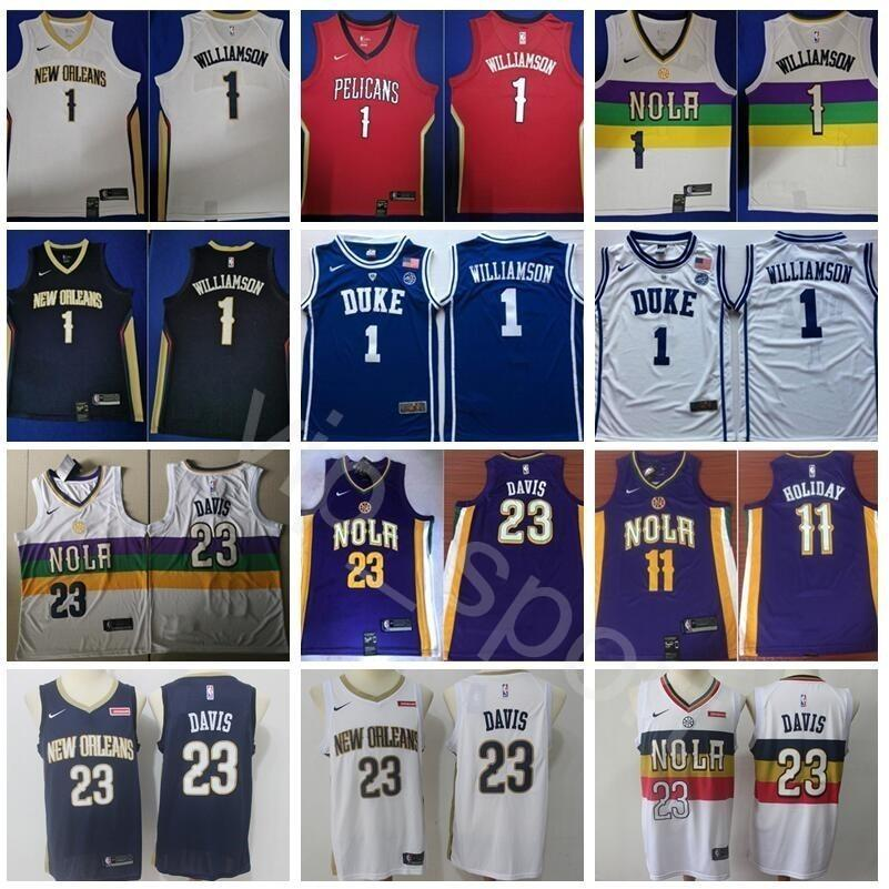 newest 1186c 18068 New Orleans Basketball Pelicans Zion Williamson Jerseys 1 Anthony Davis  Jersey 23 Jrue Holiday 11 City Earned Edition Navy Blue Purple White