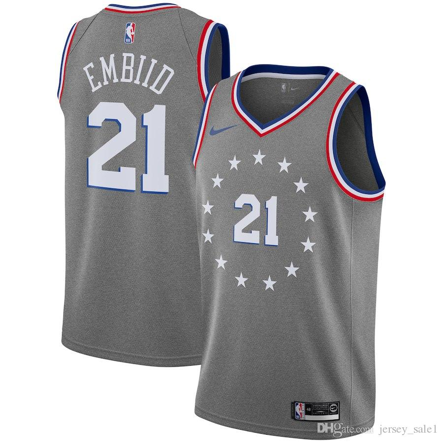 28272fedf 18-19 Season Mens Philadelphia 21 Joel Embiid 76ers 25 Ben Simmons City  Edition Grey Jerseys Online with  26.04 Piece on Nbaclothes s Store