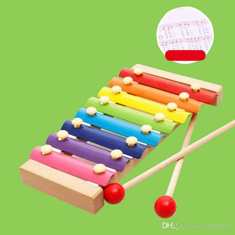 Eight-tone knocking piano baby hand knocking xylophone wooden children's educational toys wooden steel piano early education musical instrum