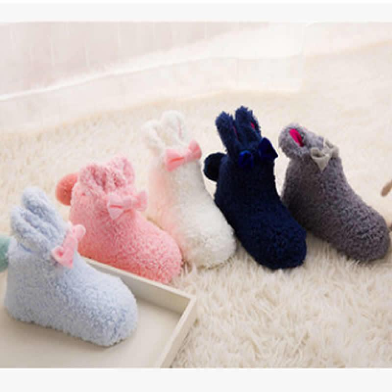 New Xmas Girls Kids Cosy Slipper Socks Super Soft Fluffy Warm Thermal Winter Non Slip Cute Socks Coral Fleece Thick Baby Socks