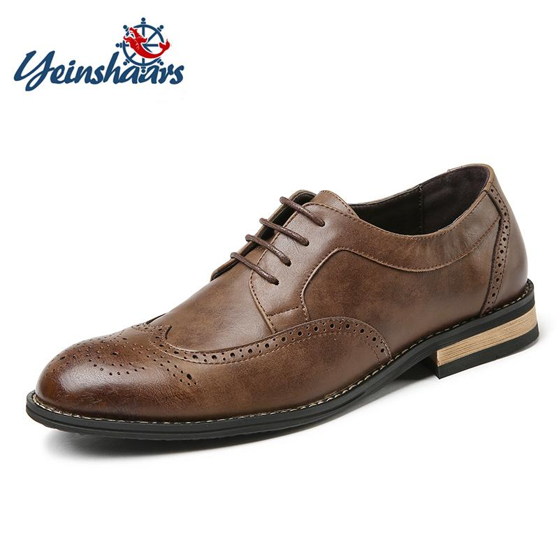 Yeinshaars New 2019 Luxury Leather Brogue Mens Flats Wooden Heel Head British Style Men Oxfords Fashion Men Dress Shoes