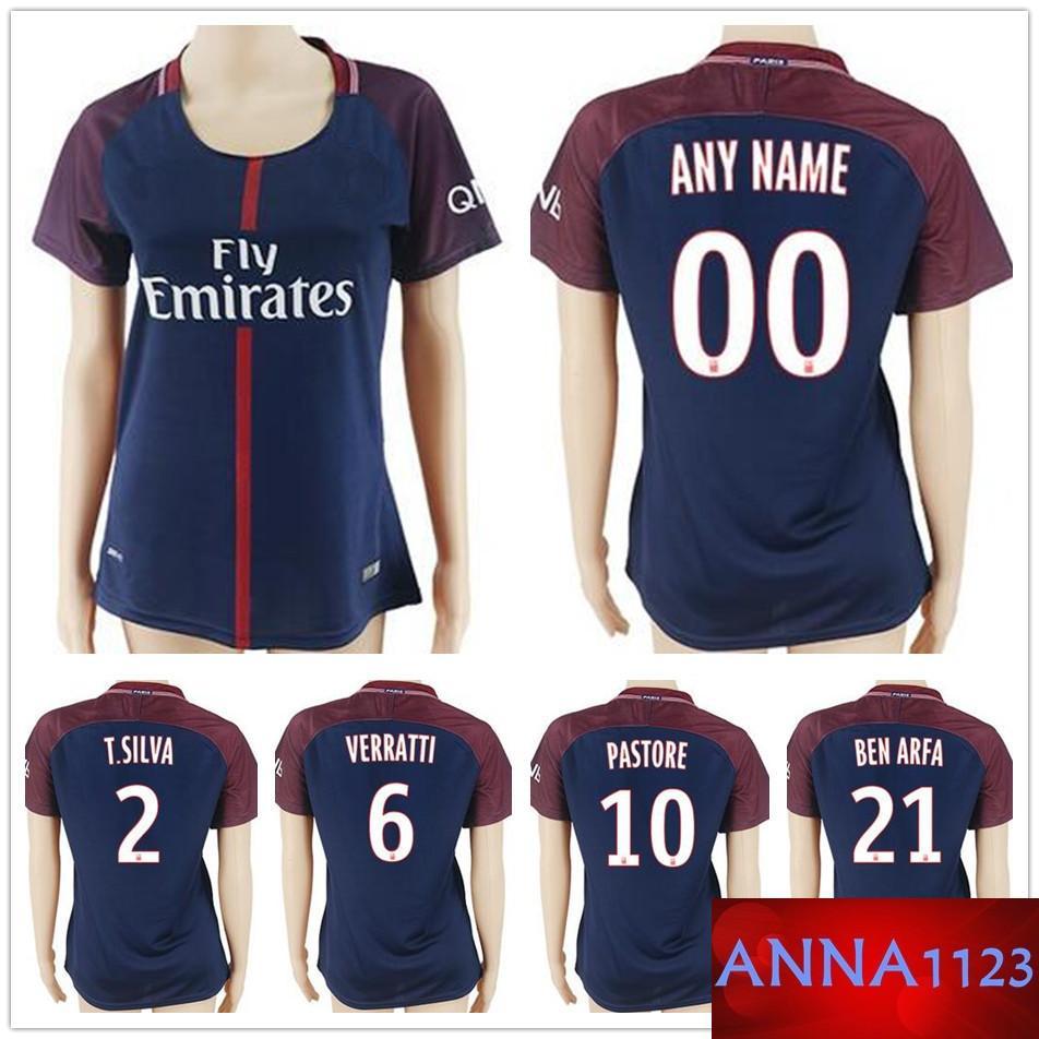 bb32dfd51 2019 Women Soccer Jerseys TRAPP 6 VERRATTI 9 CAVANI 10 PASTORE DI MARIA BEN  ARFA T.SILVA LUCAS Lady Girl Football Shirt Kit From Anna1123