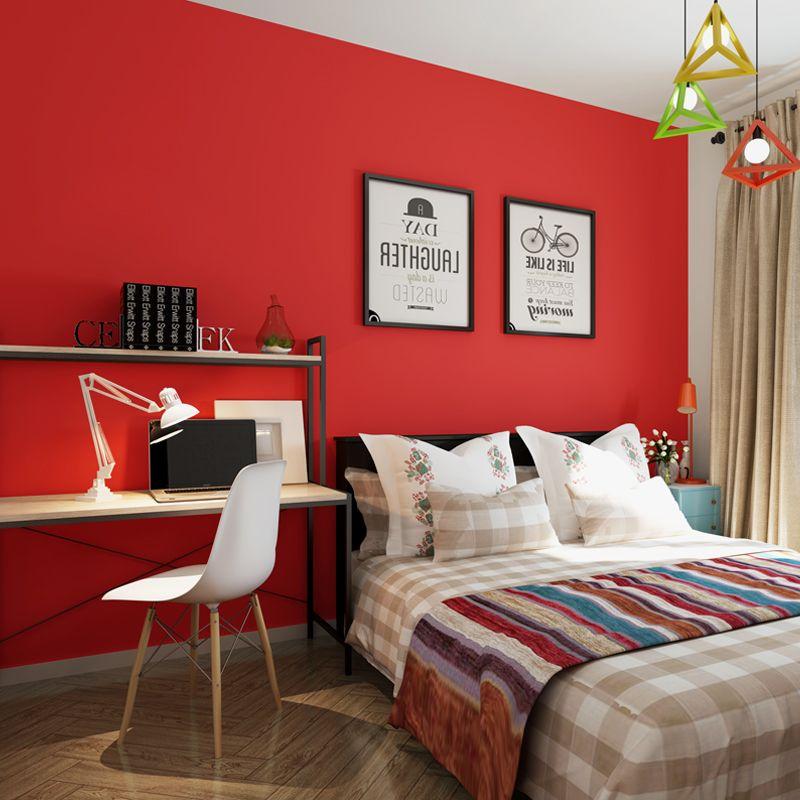 414c0cfec Satın Al Kırmızı Duvar Kağıdı Düz Renk Modern Basit Oturma Odası Yatak  Odası Ev Dekor Duvar Kağıdı Duvarlar Için 3 D Dokunmamış Papel De Parede  Tapety, ...