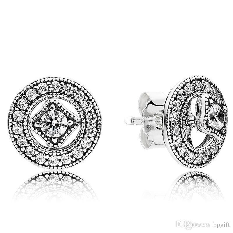 ebf56e9ed015 2019 2019 New Brand Designer 925 Sterling Silver Pandora Earrings For Womens  Sparkling Love Dazzling Droplets Earstud Ladies Earrings Clear CZ From  Bpgift