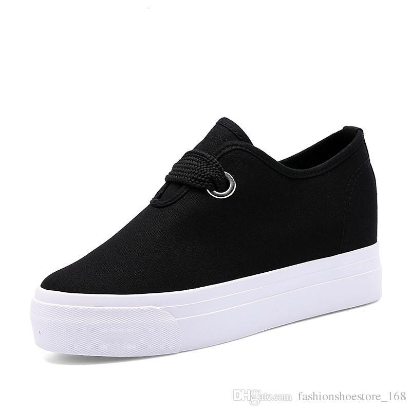 e8253e3fb0 Acquista Sneakers Con Plateau In Canvas 2019 Sneakers Con Tacco Con Zeppa  Moda Donna Lace Up Scarpe Casual In Tela Scarpe Da Ginnastica Vulcanizzate  Da ...