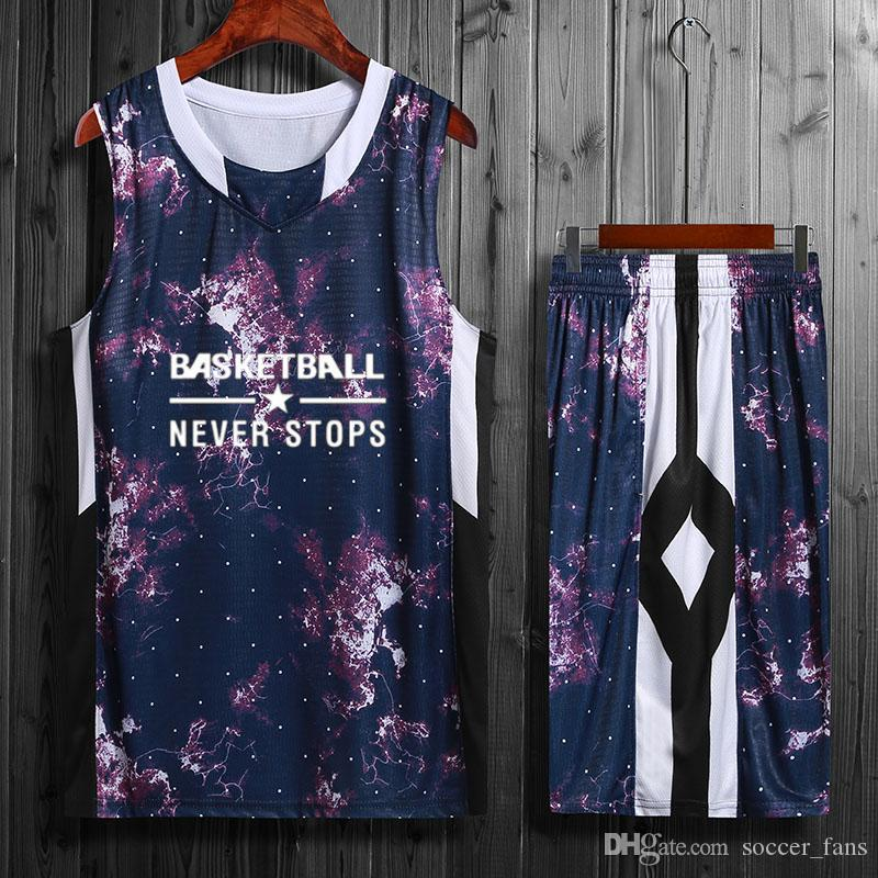 2019 High Quality Basketball Jerseys Sets Youth Breathable Basketball Uniforms Cheap Ports Sportswear College Basketball Shirt With Shorts