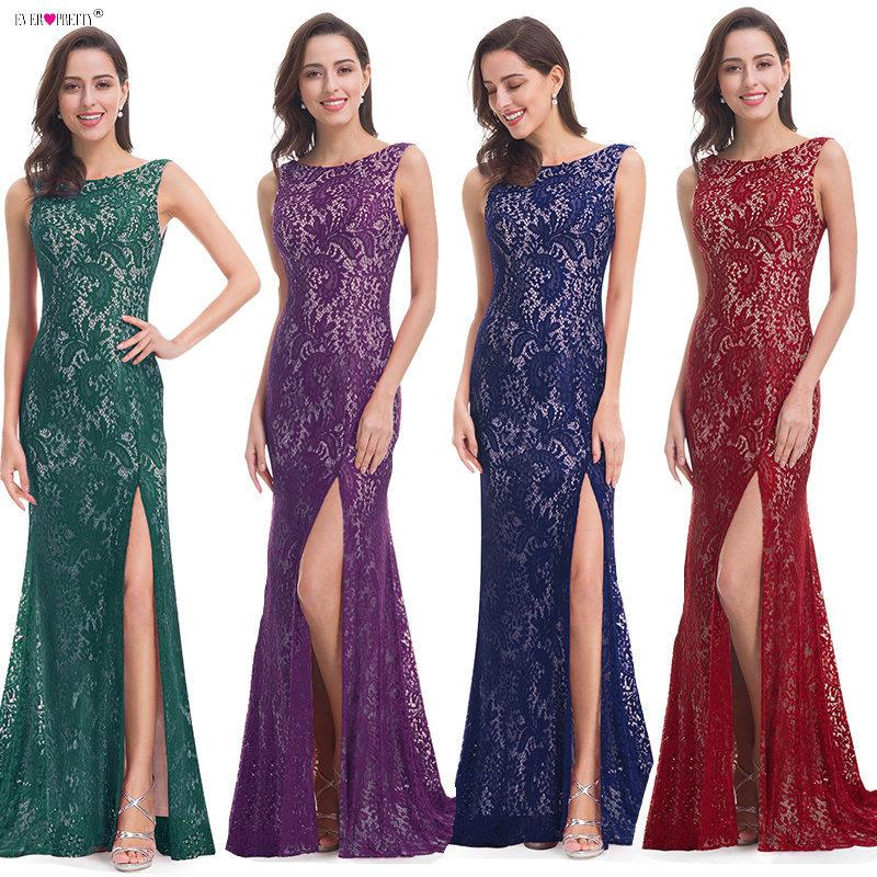b21161cd2bf42 2019 Mermaid Evening Dress Ever Pretty EP08859 2018 Long Sexy Sleeveless  Split Formal Celebrity Lace Evening Gown Dresses Robe Longue D18122903 From  ...