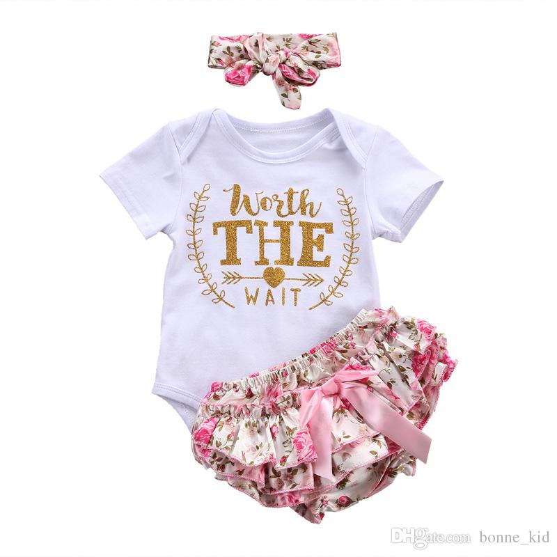 3e17a1fcbb7d 2019 Newborn Baby Girls Flower Clothes Rompers Ruffles PP Shorts Headband  Worth The Wait Pink Baby Girl Clothing Summer Short Sleeve Toddler From  Bonne kid