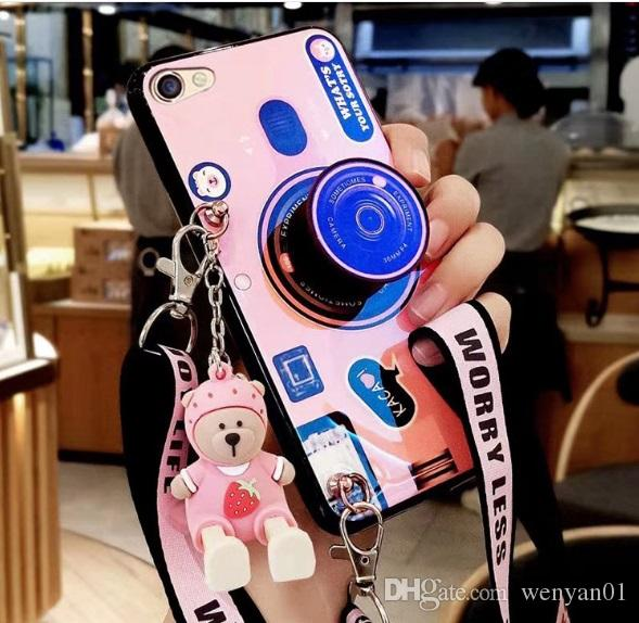 New Stylish Cell Phone Case Fashion Camera Design with Lanyard Girl Phone Cover Shell for Apple iPhone X XS XR MAX 8 7 6 Plus DHL