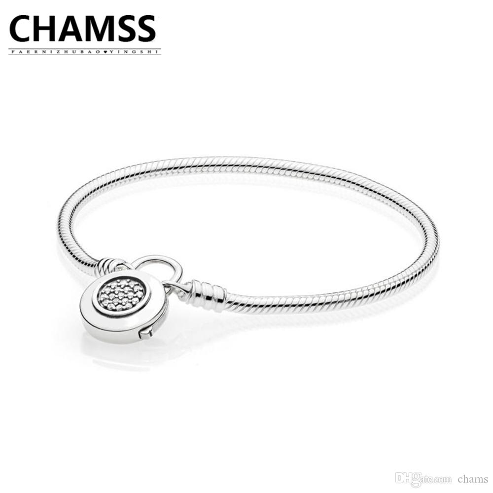 7674f244c 2019 CHAMSS 2018 Newt 925 597092CZ MOMENTS SMOOTH BRACELET WITH SIGNATURE  PADLOCK Sterling Silve Bracelet Gifts Jewelry For Women From Chams, ...