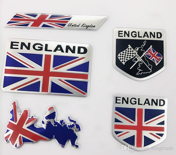 England Flag Union Jack Car Stickers Side Door Labeling Auto Personality Metal Decorative Badge Cover Scratches 3D Stickers 80*50mm, 50x50mm