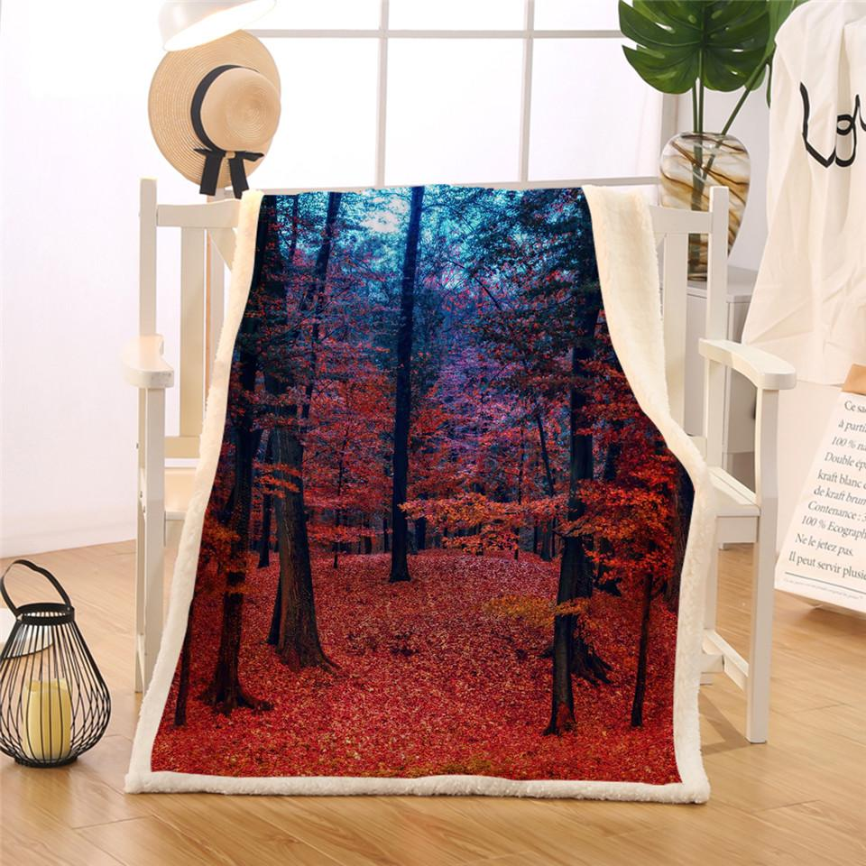 BlessLiving Natural Maple Forest Blanket Rustic Fall Autumn Tree Sherpa  Flannel Fleece Blanket Woodland Leaves Red Couch Manta Light Yellow Throw  Blanket ... 6af32125e