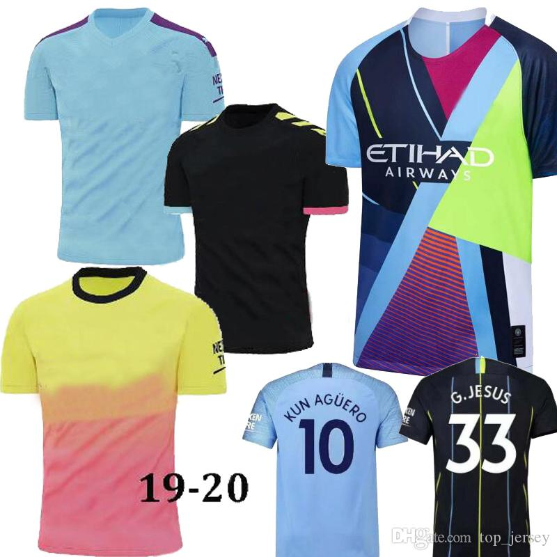 2019 KUN AGUERO Man SANE City 6th anniversary home blue 3rd away purple Soccer Jersey 19/20 DE BRUYNE Mashup Splice SILVA Football Shirts