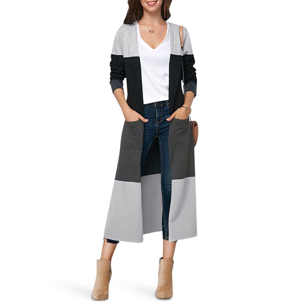 05e279dbbb 2019 ZAN.STYLE Collarless Color Block Pocket Slit Open Front Women Cardigan  Fashion Hit Color Women Sweater Warm Knit Long Cardigan From Fabian05