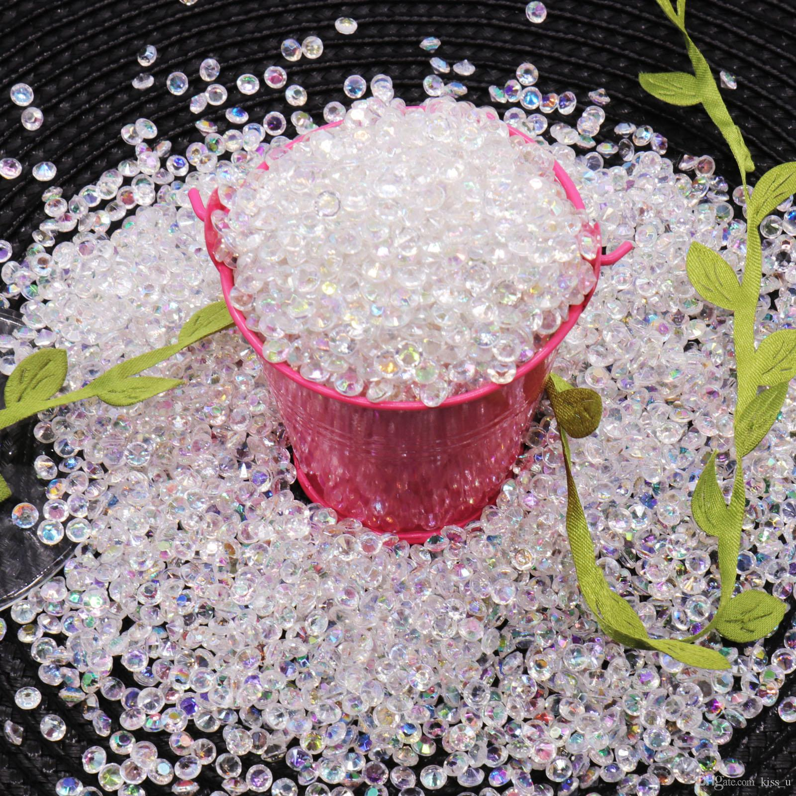 Hot 5000pcs 4.5mm Acrylic Diamond Crystal Bling Transparent Confetti For Wedding Party Decoration Confetti Table Scatter Beads