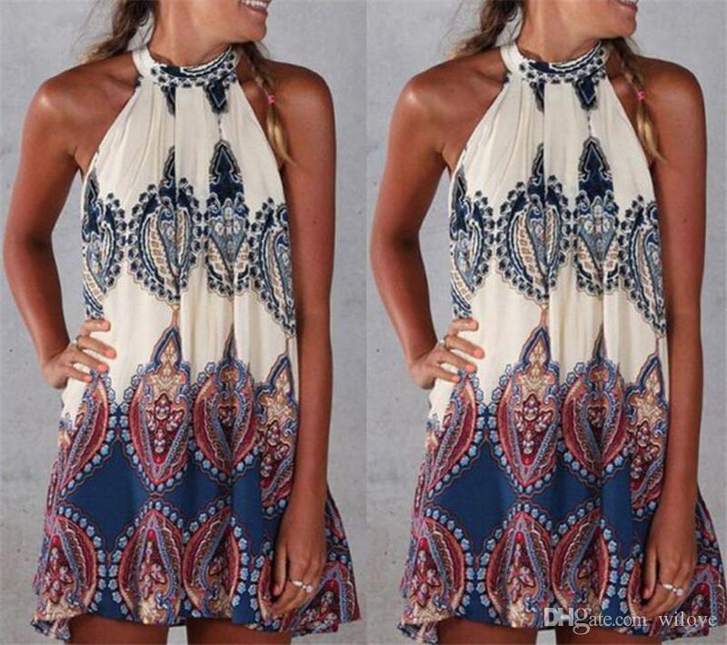 New Womens férias Mini Beach Dress Moda Verão Sun Ladies impresso Girl Dress Beachwear Tamanho
