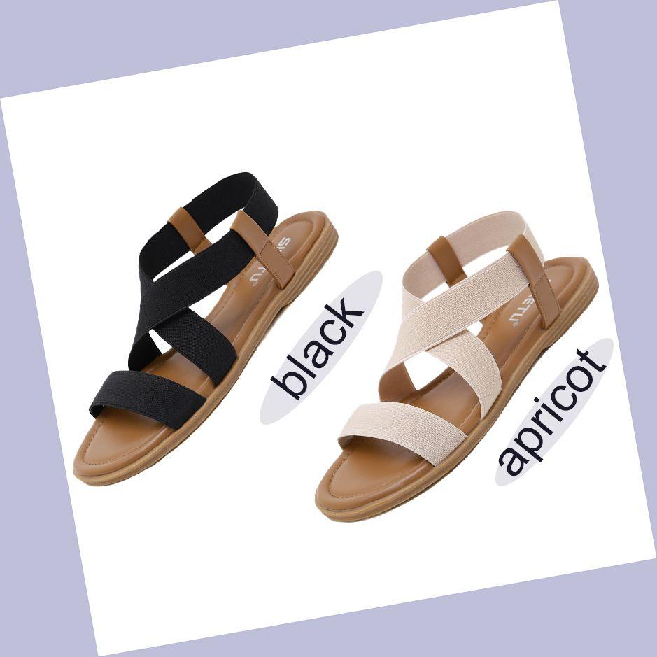 dd45d32a05a0 Women Summer Flat Sandals Elastic Band Flip Flop Brand Design Gladiator  Beach Sandals Black Apricot Comfort Women Shoes Big Size Gladiator Sandals  Wedding ...