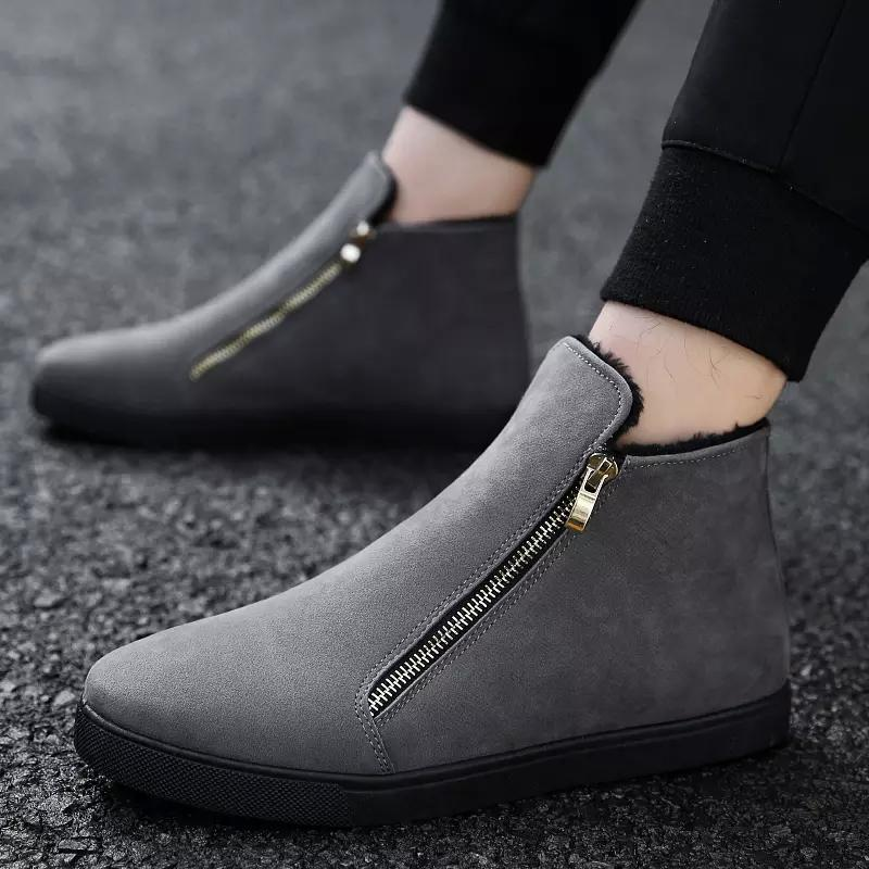 f7628fde746a3 Women's Winter Ankle Boots Female Zipper Flock Platform Snow Boot Ladies  Plush Sneakers Casual Flat Shoes Woman Footwear