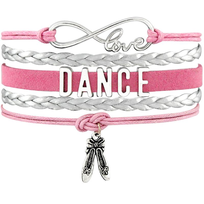 Dance Dancer Ballet Shoes Heart Infinity Love Charm Bracelets Antique Silver Handmade Pink Jewelry Women Men Gift
