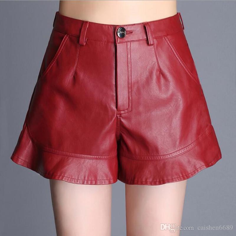 2f9760a91c Compre Pantalones Cortos De Cuero De Pierna Ancha Mujer 2019 Primavera    Otoño Nuevos Pantalones Cortos De Cuero De Pu Volantes Cintura Alta Tamaño  Grande ...