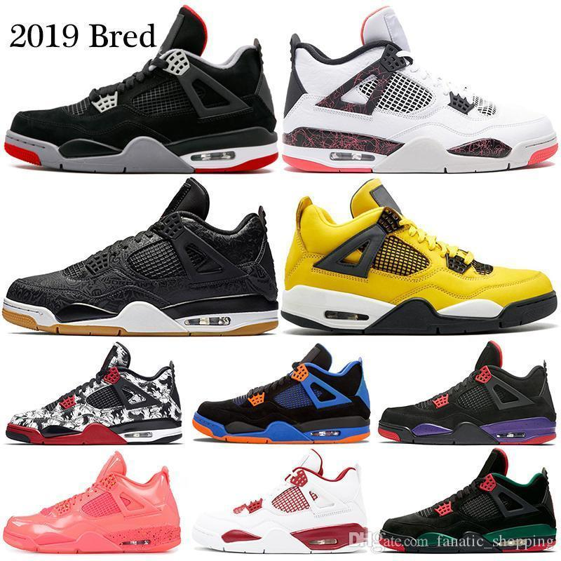 c8ade1ea4357 2019 2019 Bred 4 Basketball Shoes 4s Pale Citron Pizzeria Lightning Singles  Day Tattoo Laser Hot Punch Oreo Mens Sports Sneakers 7 13 From Good_smile,  ...