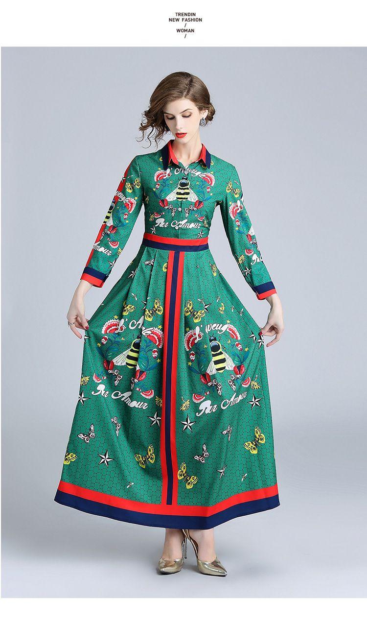 f73eda1ad6ad9 Satın Al Kadın 2019 Ilkbahar Ve Sonbahar Yeni Renk Kontrast Yaka  Konumlandırma Baskı Ince Uzun Kollu Elbise Uzun Etek Moda Elbise, $34.38 |  DHgate.Com'da