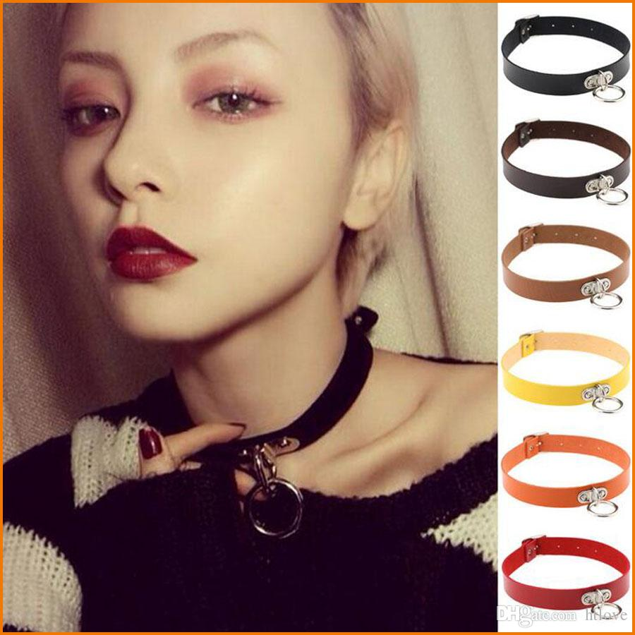 2019 Vintage Bijoux Women Men Jewelry Cool Punk Goth Rivet Choker Necklace Leather Collares Round Metal Pendant Anime Necklaces-Rose