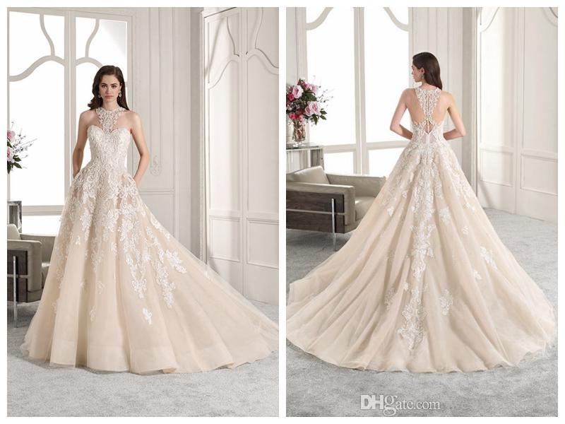 b4de70bcb028 Discount 2019 Wedding Dresses Robe De Mariée Demetrios 842 Ivory Tulle Lace  A Line High Neck Buttons Beading Crystal Applique Wholesale Custom Made  Designer ...