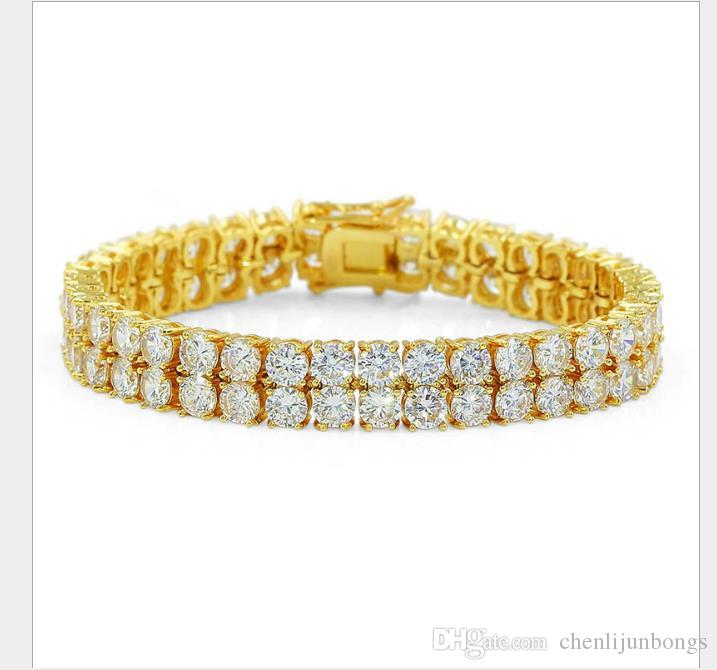Hip-hop micro Zircon Bracelet double-row men's Gold Bracelet