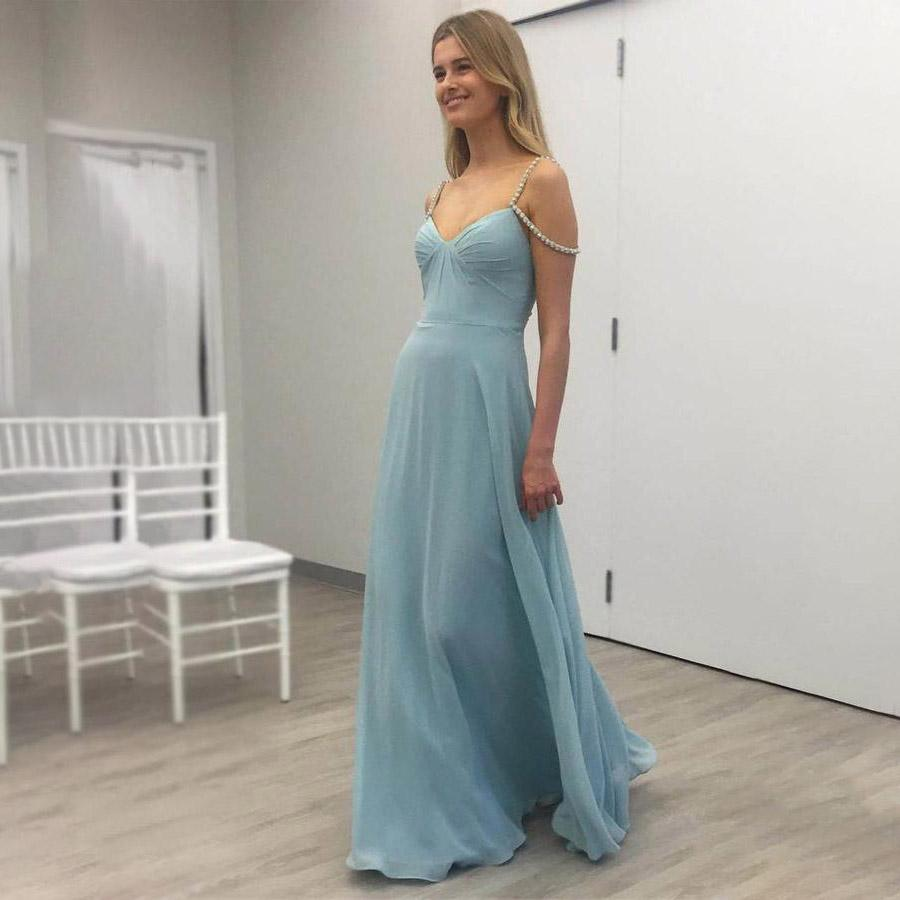 9ee0a4ebf691 Spaghetti Straps Long Prom Dresses Backless Chiffon A Line Sleeveless Off  The Shoulder V Neck Evening Formal Party Dress Lace Prom Dresses Red Prom  Dress ...