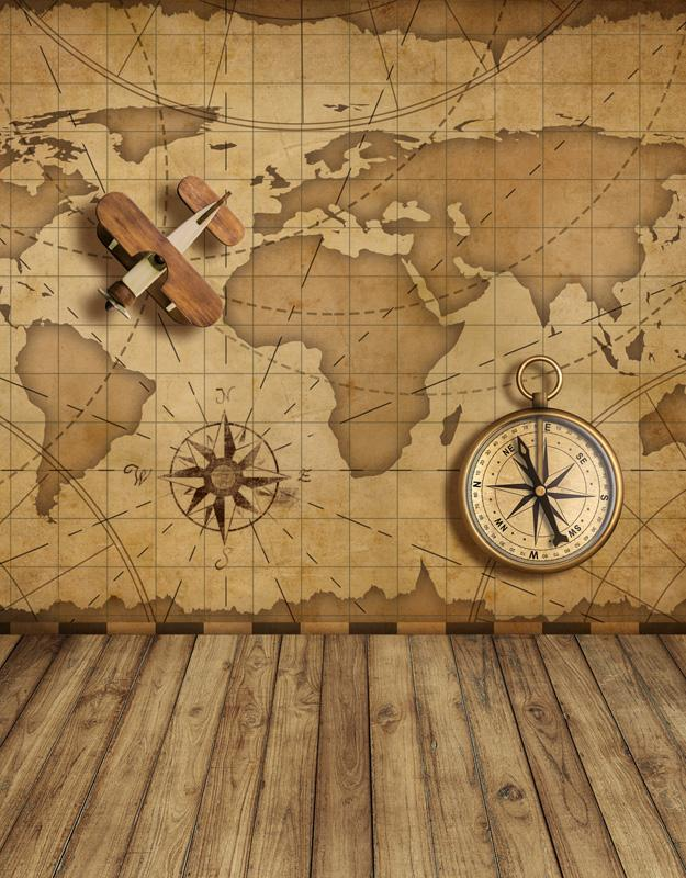 5x7FT Vintage Old World Map Nautical Navy Compass Plane Wood Floor Custom  Photo Backdrops Studio Backgrounds Vinyl 150cm x 220cm