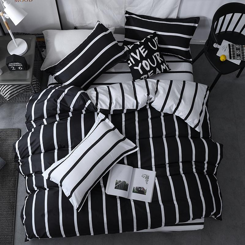 Black white Classic bedding set striped duvet cover white bed linen set flat sheet queen king bed Fashion new bedclothes