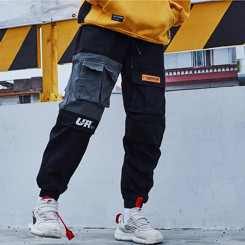Fashion-Aolamegs Cargo Pants Men Block Patchwork Track Pants High Street Hip Hop Multi-Pockets Joggers Trousers Sweatpants Streetwear