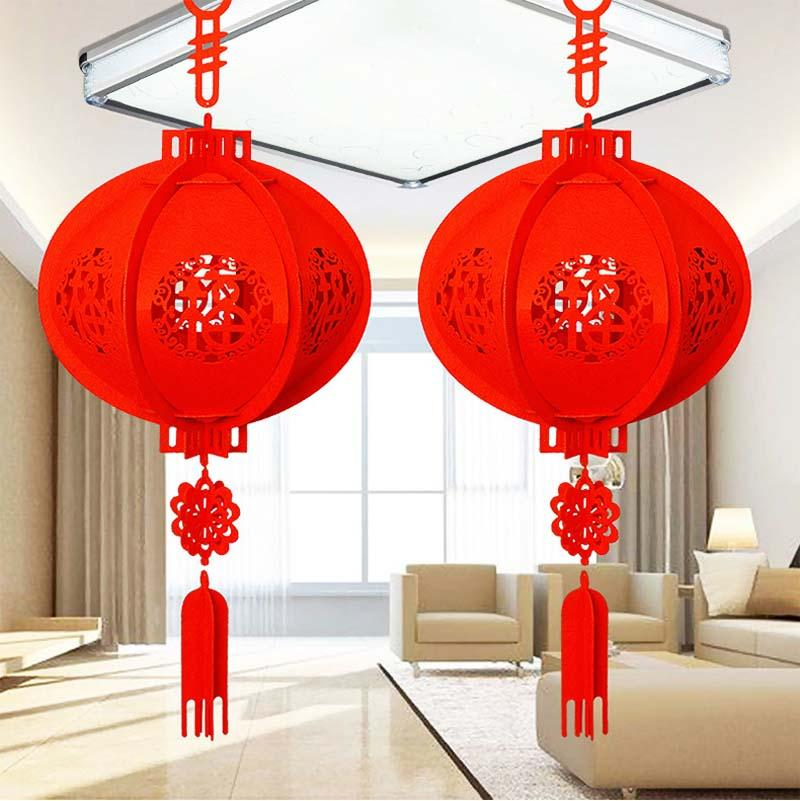"""Newly Design 3D China Red Lantern Durable Non-woven Fabric """"FU"""" Letters Lantern Chinese New Year Party Decorations for Home 20E"""