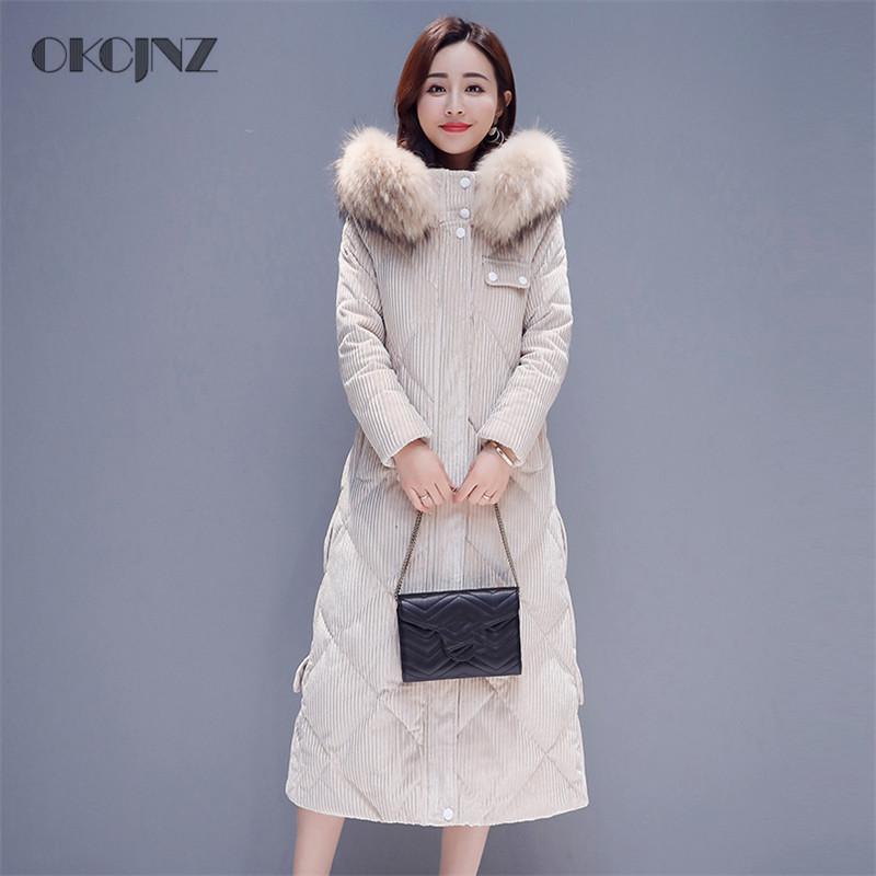 f3eb4861f 2018 Winter New Gold velvet big fur collar Down jacket Women Loose Straight  Thick Long Down Coat Female Temperament Parka YY133