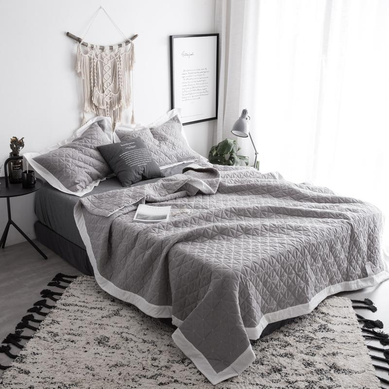 Bedspreads.Bedspread Queen Size Bed Spread Set 100 Cotton Quilted Solid Color Gray White Bed Set Cover Suitable For Adults Cubrecama
