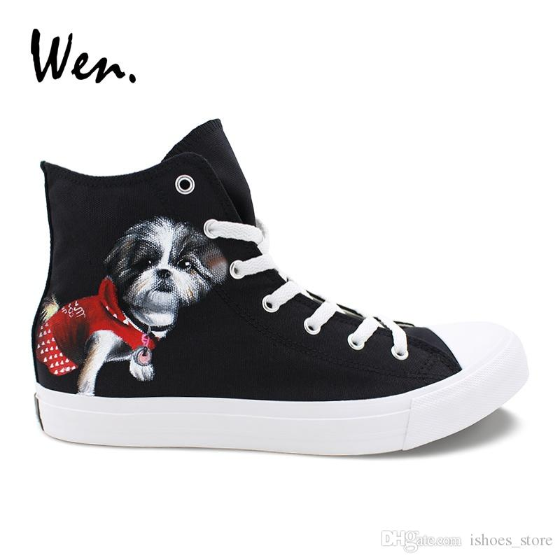d464de5819ef85 Wen Custom Sneakers Men High Hand Painted Shoes Pet Dog Designer Women Top Canvas  Shoes Black Espadrilles Flat Laced Plimsolls  161447 Shoe Boots Fashion ...
