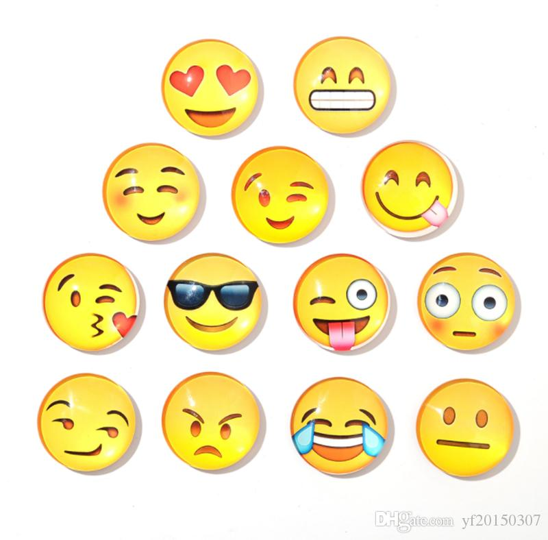Glass Dome Round Cute Smile Emoji Face Expressions Refrigerator Sticker Fridge Magnet For Kids Message Holder Home Decor