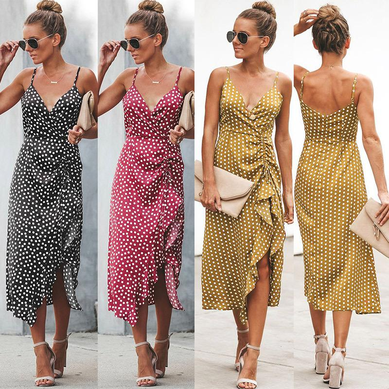 a3385e88bf Womens Floral Prints Tie Front Button Down Spaghetti Strap Midi Dress  Ladies Summer Sling Party Dresses Summer Cocktail Dresses Dress Clothes  From Gogoyoung ...