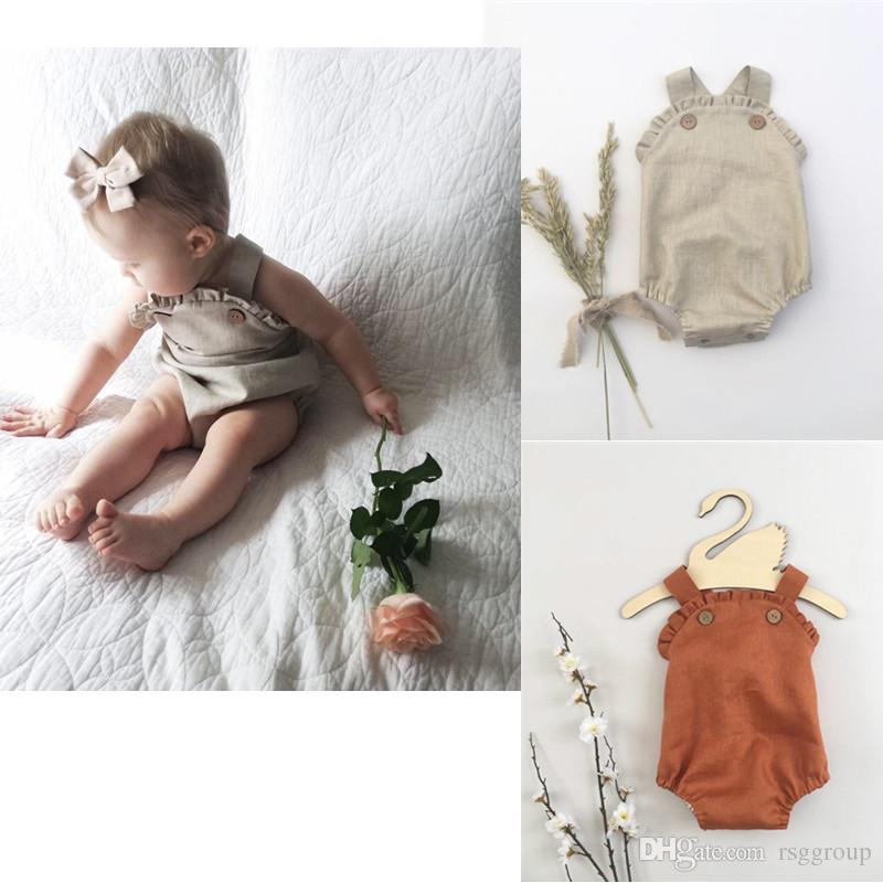 04d887454f0fd INS Designer Baby Baby Girl Boy Romper Blank Button Organic Cotton Ruffles  Collar Summer Linen Newborn Belt Jumpsuit Newborn Romper Onesies